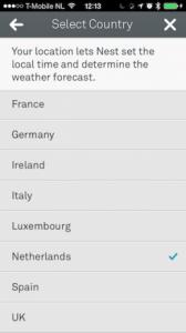 Nest thermostaat postcode selectie